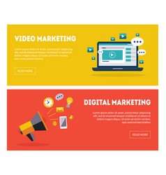digital marketing banners set business strategy vector image