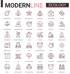 Ecology flat line icon set of vector
