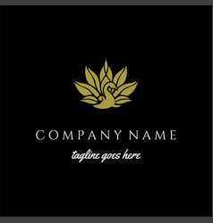Elegant luxury golden bird peacock logo design vector