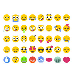 Emoji set of isolated on white emoticons stickers vector