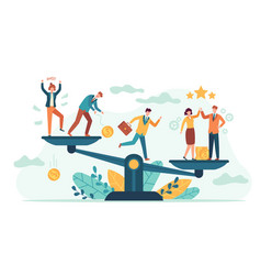 Employees balance scales good and bad business vector