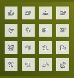 Engine icons line style set with brainstorming vector