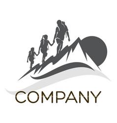 family camping logo vector image