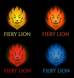 fiery lion logo vector image