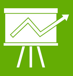flip chart with statistics icon green vector image