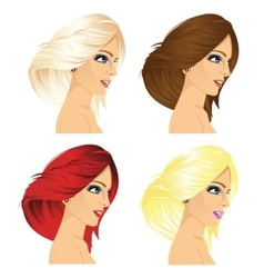 Four women profile with different hair color vector