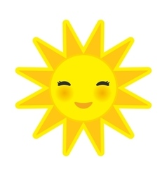 Funny cartoon yellow sun smiling with closed eyes vector