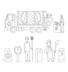 garbage collection coloring book page garbage vector image