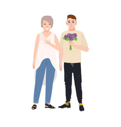 grandson giving flower bouquet to his grandmother vector image