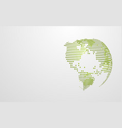 green eco earth abstract global dot map on white vector image