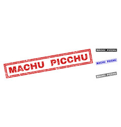 Grunge machu picchu textured rectangle stamps vector