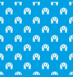 hand coin pattern seamless blue vector image