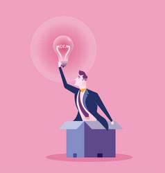 hand holding light bulb business idea concept vector image