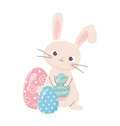 happy easter cute rabbit holds egg decoration vector image