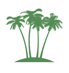 Island with palms on white background vector