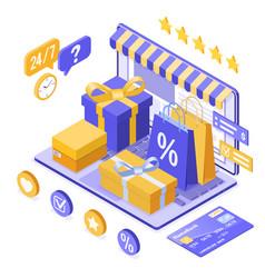 Isometric online internet shopping vector