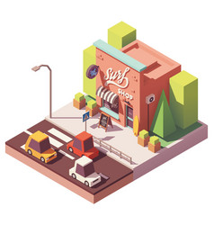 Isometric surf shop vector