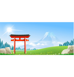 Japanese landscape with tori gate vector