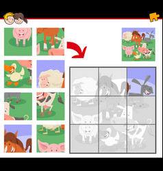 Jigsaw puzzles with farm animal characters vector