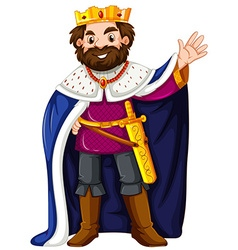 King wearing blue robe vector