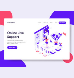 landing page template of online live support vector image