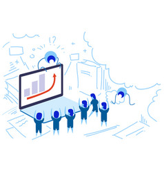 laptop screen financial graph arrow up people vector image