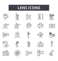 lens line icons for web and mobile design vector image