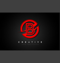 Letter b logo with a red circle swoosh design vector