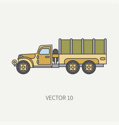 Line flat color icon tarpaulin wagon army vector