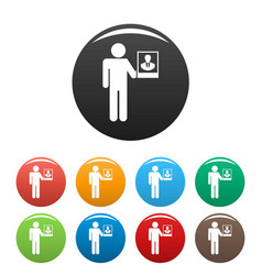 man present candidate icons set color vector image