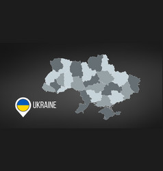 map ukraine with divisions isolated on black vector image