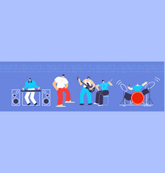 musician instruments people concert flat cartoon vector image