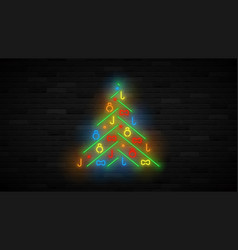 neon christmas tree template vector image