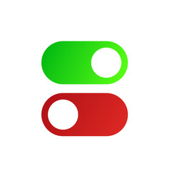on and off slider buttons red and green switch vector image