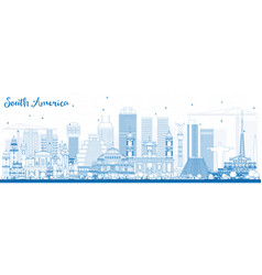 Outline south america skyline with famous vector