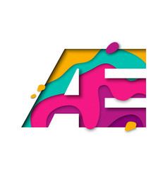 Paper cut letter ae realistic 3d multi layers vector