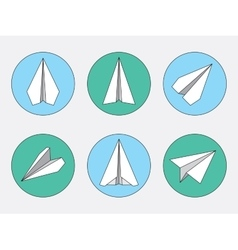 Paper Plane Thin Line Symbols Set Paper Origami vector image