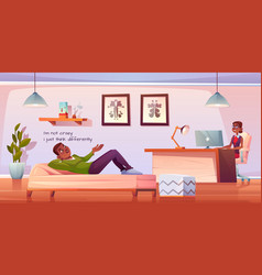 patient in psychologist or psychotherapist office vector image