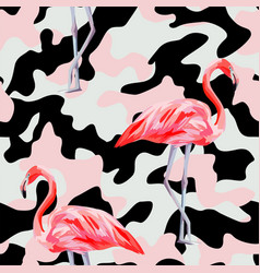 Pink camo flamingo seamless pattern vector