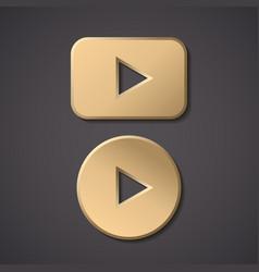 Play gold button icon round arrow gold vector