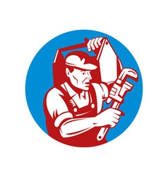 Plumber with monkey wrench and carrying toolbox vector