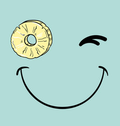 Positive winks smiley with slice of pineapple vector