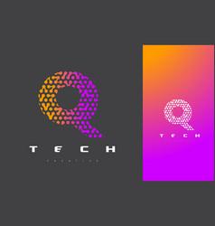 Q letter logo technology connected dots letter vector