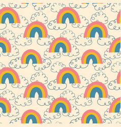 rainbows and clouds seamless pattern kids vector image