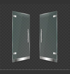 realistic 3d detailed glass door open on a vector image