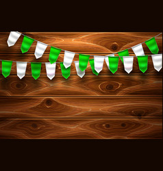 realistic st patrick bunting flag wooden vector image