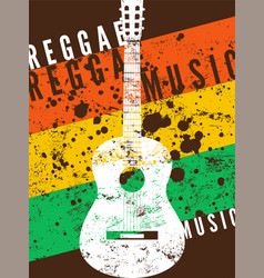Reggae music retro typographical grunge poster vector
