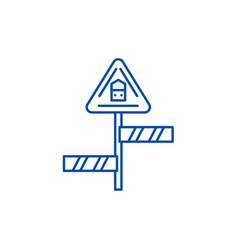 road sign line icon concept road sign flat vector image
