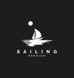 Sail boat logo design vector