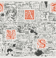 Seamless pattern on a literary theme vector